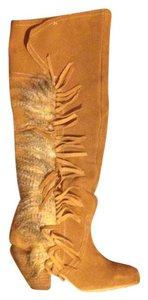 Naughty Monkey Leather Fringe Fur Tan Boots
