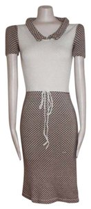 Betsey Johnson short dress BROWN IVORY Knit Sweater Pointelles Stretchy Bodycon on Tradesy