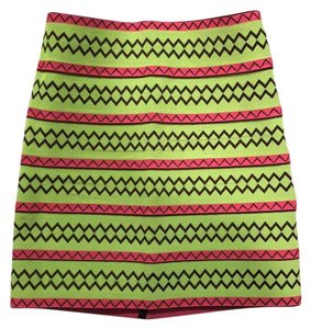 Pleasure Doing Business Mini Skirt lime green and pink with black accents