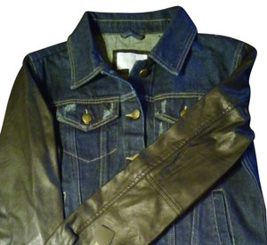 Laundry by Shelli Segal Dark blue denim with black faux leather sleeves Womens Jean Jacket