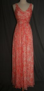 J.Crew Sweet Guava J.crew Heidi Long Dress In Watercolor Silk Chiffon Size 0 Sweet Guava Dress