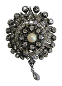 Other Victorian Gold Silver Top Diamond Natural Saltwater Pearl Brooch