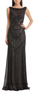 JS Collections Sleeveless Art Deco Sequin Gown Dress