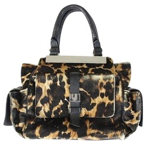 Giuseppe Zanotti Pony Hair Print Leather Handbag Satchel in Leopard