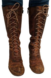 Frye Villager Lace Up Leather Brown Boots