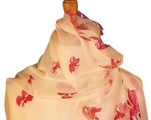 Valentino New Romantic Wedding Luxe Couture Cashmere Silk Stole Wrap In Red and Pink Floral Design On White For Bride Feminine Bridesmaid/Mob Dress Size OS (one size)