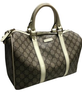 Gucci Satchel in Taupe and white