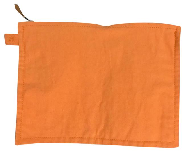 Item - Let Orange Canvas Flat Case Small Cosmetic Bag