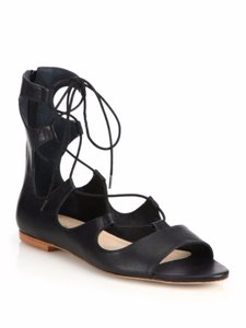 Loeffler Randall Leather Gladiator Laces Zipper Lace-up Black Sandals