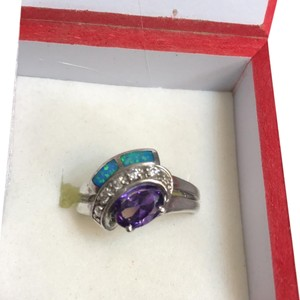 Made In Egypt Evil Eye Sterling Silver, Amethyst, Lapis & CZ ring