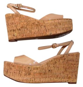 Tory Burch Nude Blush Patent Leather Platform Cork Wedge Beige Sandals