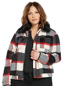 4c46ce915d2 Torrid Black Red White and Gray New Plaid Wool Bomber with Faux Fur ...