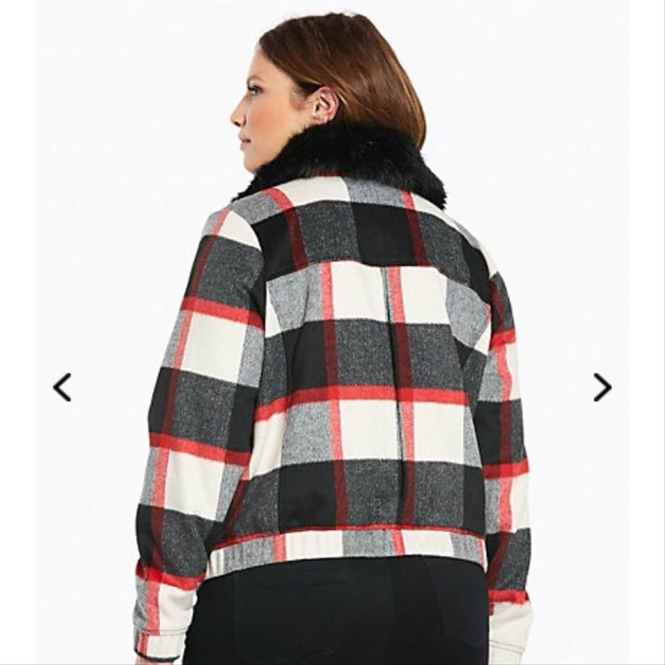 d035d86fd23 Torrid Black Red White and Gray New Plaid Wool Bomber with Faux Fur ...