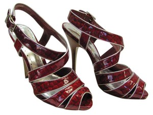 BCBGeneration Size 10.00 M Patent Leather Very Little Wear Very Good Condition Red, Silver Sandals