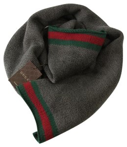 Gucci GUCCI 367225 Unisex 100% Wool Web Stripe Scarf, Brown