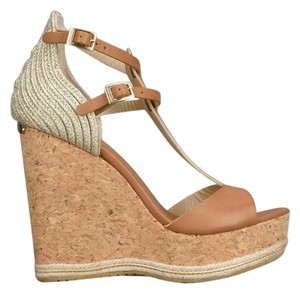 Jimmy Choo Tan/Platinum Wedges