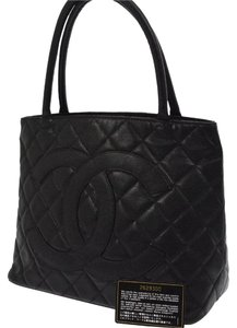 Chanel Caviar Leather Vintage Luxury European Tote in Black