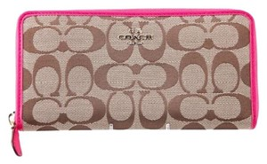 Coach * Coach Signature Accordion Zip Wallet Pink/Khaki