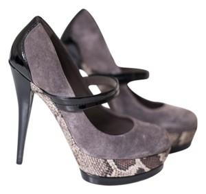 Jessica Simpson Mary Jane Suede Patent Gray, Black & Brown Pumps