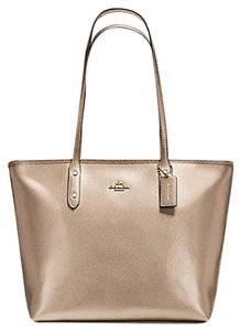 Coach Zip Top Shimmery Champagne Tote in gold