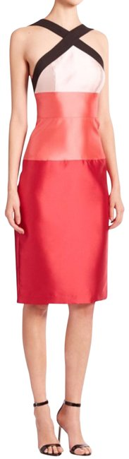 Item - Crimson Pink Ombré Color Block Satin Halter Mid-length Cocktail Dress Size 2 (XS)