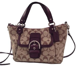 Coach Metallic Hobo Purse Satchel in khaki/burgandy
