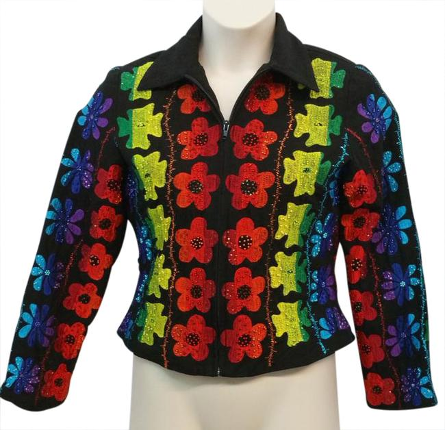 Item - Embellished Embroidered Multicolored Jacket Size 6 (S)