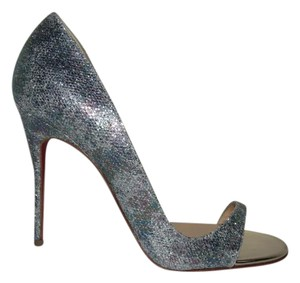 Christian Louboutin Toboggan Glitter Stiletto Evening Multi Glitter Sandals