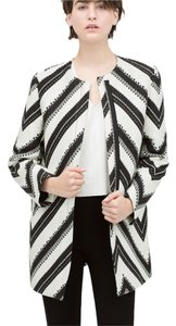 Zara Zig Zag Pattern Coat New Tags S 6 2015 Black & white Jacket