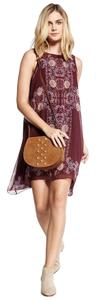 Max Studio short dress Burgundy Multi-color Chiffon Floral Print Shift Hi Lo on Tradesy