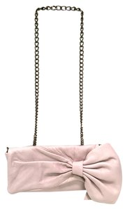 RED Valentino Side Bow W Chain Cross Body Strap Pale Pink Clutch