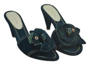 Chanel dark blue denim Carmellia Sandals