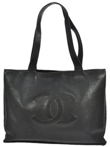 Chanel Xxl Jumbo Caviar Cc Black Tote Shoulder Bag