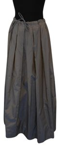Chompol Serimont Iridescent Pleat Maxi Skirt Taupe/Blue and Grey