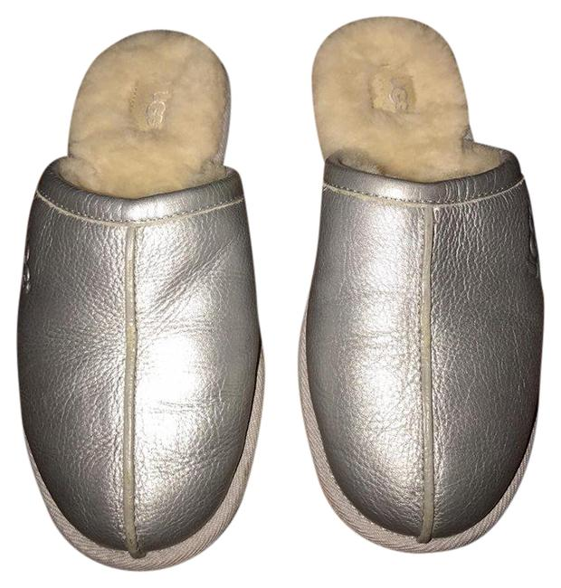 Item - Silver Gray 5621 Leather Sheepskin Mule Slippers Formal Shoes Size US 6 Regular (M, B)