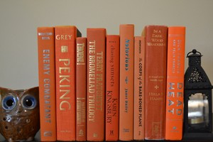 Vintage Style Books - Orange - G525 - Set Of 10
