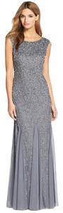Adrianna Papell Beaded Embellished Mermaid Silver Gown Dress