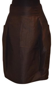 Moschino Shimmer Pleated Skirt Brown