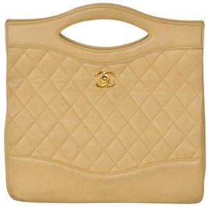 Chanel Lambskin Quilted Tote in Beige