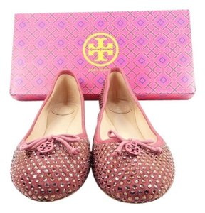 Tory Burch Chelsea Suede Crystal Conceria Cameo Pink Flats