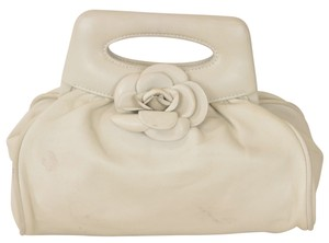 Chanel Lambskin Camellia Rose Clutch Satchel in Gray
