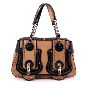 Fendi Leather Bronze Hardware Bronze Logo Chail Link Accents Snap Lock Closure Satchel in Brown, Black