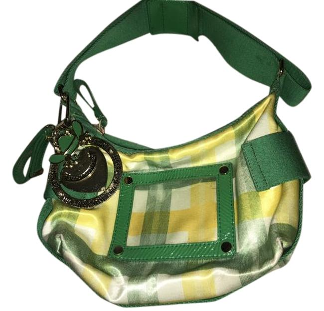 Item - Style Patterned Green and Yellow Nylon Baguette