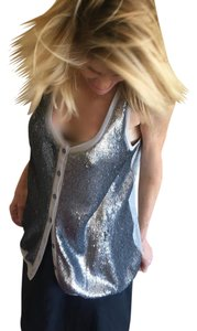 Elizabeth and James Sleeveless Medium Top Grey and silver sequin embellished