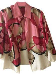 Valentino 100% Silk Button Down Longsleeve Top Vintage, Creme, pink and red
