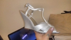 Michelangelo White Wedge Wedding Sandal Wedding Shoes