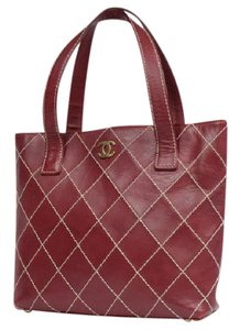 Chanel Quilted Wild Stitch Burgundy Red Gst Shoulder Bag