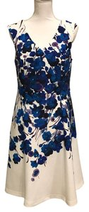 Adrianna Papell short dress Blue Floral on Tradesy