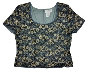 Papell Boutique Beaded Evening Gold Sequin Party Top black