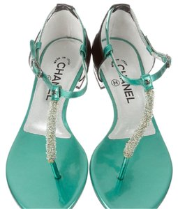Chanel Brand New Green Metalic Leather Sandals